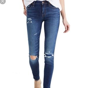 Madewell High Rise Super Skinny Patch Rip Jean